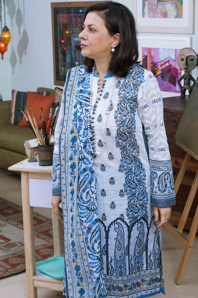 Blue 3 Pc Printed Lawn Dress CL-254 B