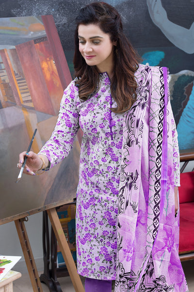 Purple 3 Pc Printed Lawn Dress CL-268 B