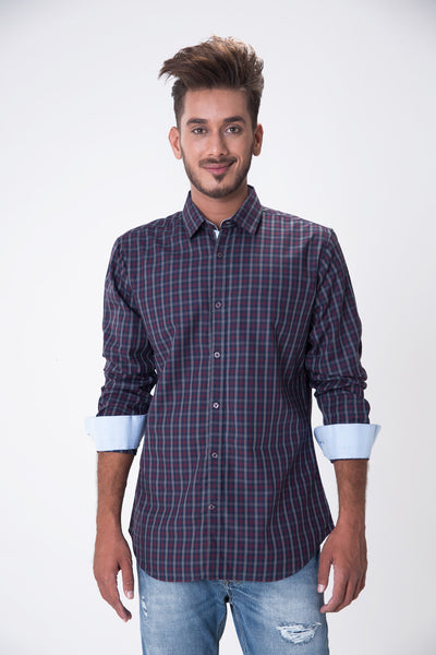 Red & Navy Checked GA Sport Casual Shirt - CM-YD-1575