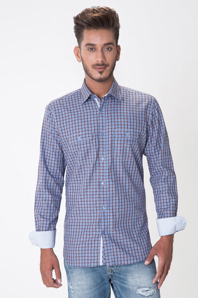 Brown & Sky Blue Checked GA Sport Casual Shirt - CM-YD-1576