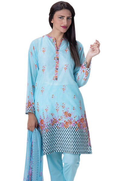 Sky Blue Chantilly de Chiffon Embroidered Dress CT-112 - 3 Pc