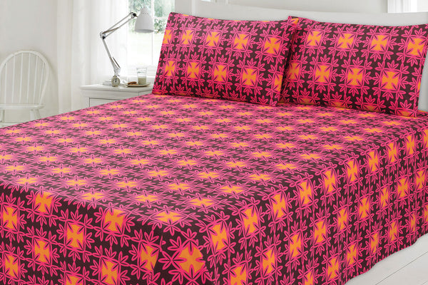 Carmine Pink T-150 Bed Sheet Set