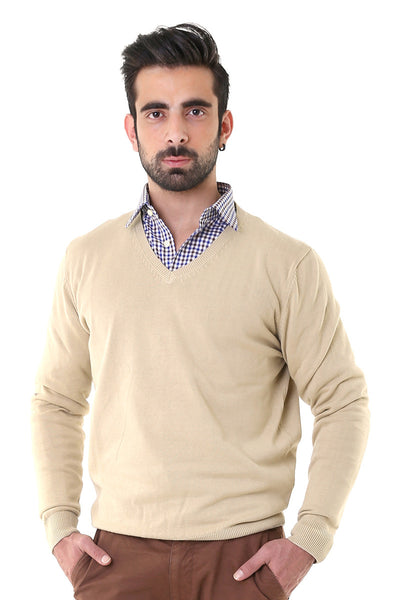 Beige Full Sleeves Sweater - FS-SWT-D09-4