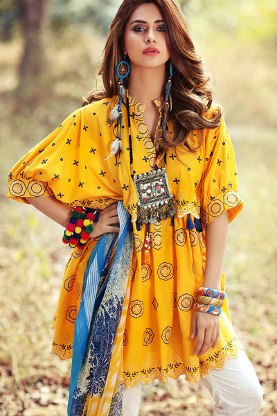 Yellow 2 Pc Embroidered  Blended Chiffon GT # 05