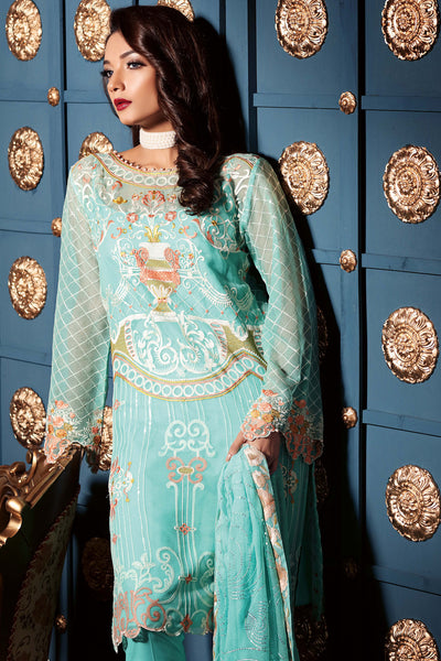 Sky Blue 3 Pc Premium Embroidered Chiffon PM # 201