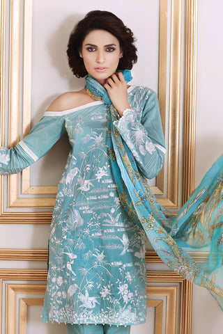 Sky Blue 3 Pc Embroidered Cotton Silk FE # 64