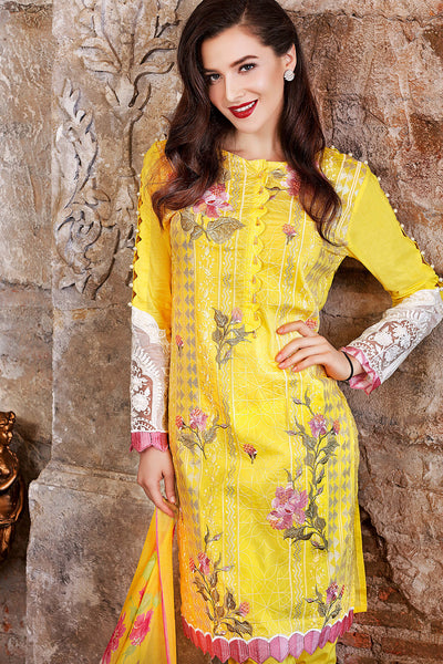 Yellow 3 Pc Embroidered Cotton Silk FE # 58