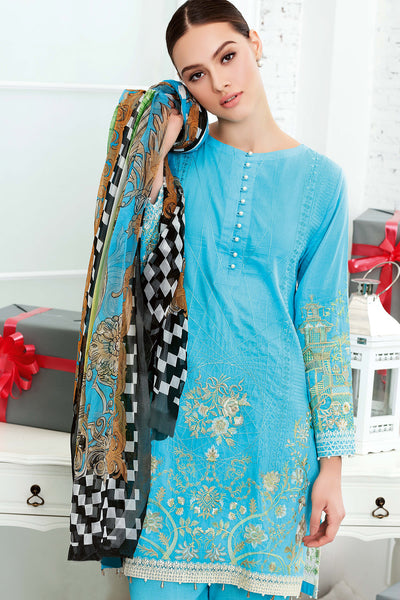 Blue 3 Pc Embroidered Cotton Silk FE # 16