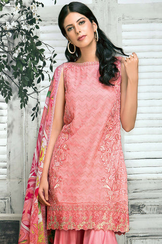 Pink 3 Pc Embroidered Chiffon FE # 61