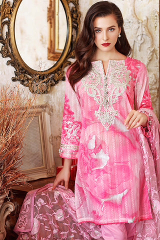 Pink 3 Pc Premium Embroidered Chiffon FE # 47