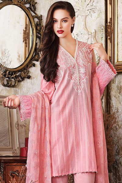 Baby Pink 3 Pc Premium Embroidered Chiffon FE # 50