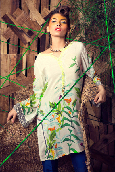 Off White Tropical Amazon Embroidered Shirt GLAMOUR-16-35 DP