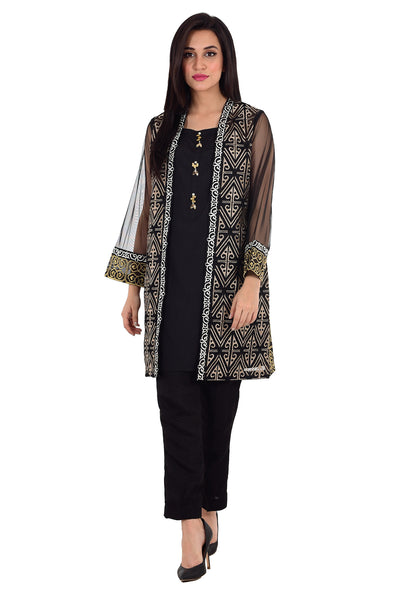 Black Organza Embroidered Shirt GLAMOUR-15-128