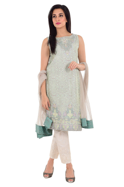 Grey 2 Pc Silk Embroidered Dress GLAMOUR-15-79