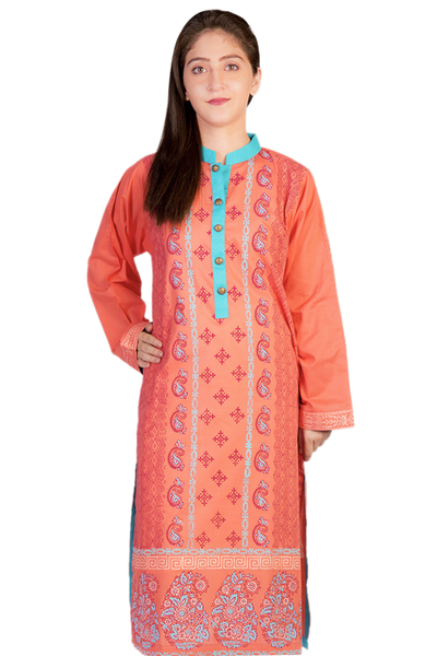 Peach G-Woman Block Print Kurti GLS-14-426