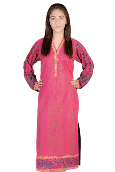 Pink G-Woman Embroidered Block Print Kurti GLS-14-447