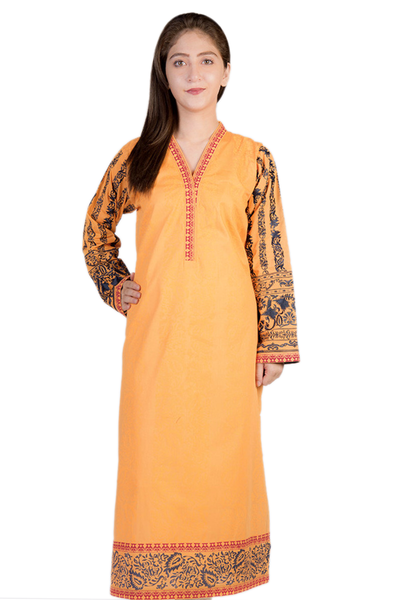 Orange G-Woman Embroidered Block Print Kurti GLS-14-447