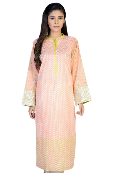 Peach G-Woman Block Print Kurti GLS-14-471