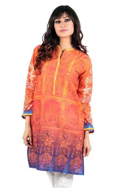 Orange Cambric Digital Print Kurti - GLS-15-040