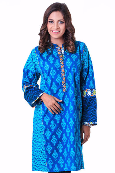 Teal Embroidered and Screen Print Shirt GLS-15-053