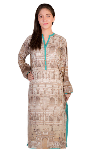 Brown G-Woman Digital Print Kurti GLS-15-09