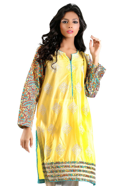 Yellow Cambric Embroidered Kurti - GLS-15-106