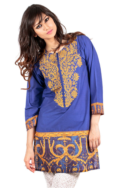 Blue Embroidered Kurti - GLS-15-108