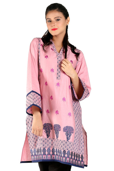 Pink Cambric Embroidered Kurti - GLS-15-135