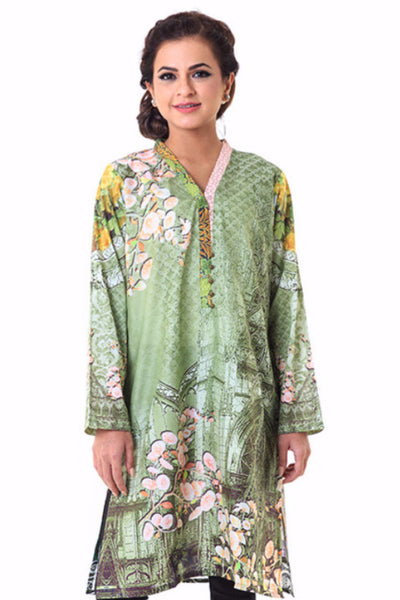 Green Cambric Digital Print Shirt GLS-15-153