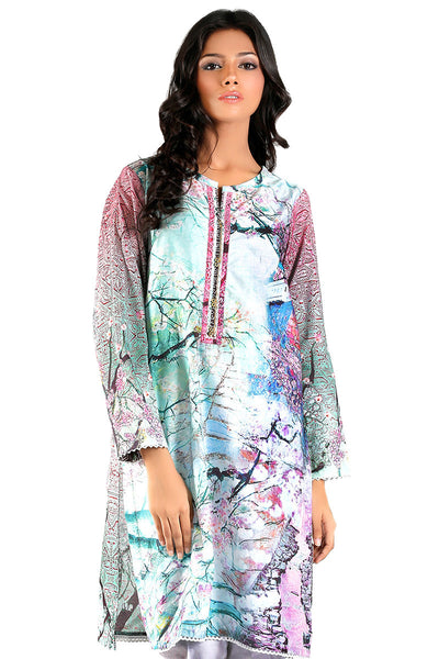 Light Blue Digital Print Kurti - GLS-15-156