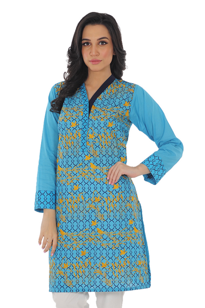 Turquoise Cambric Kurti - GLS-15-158
