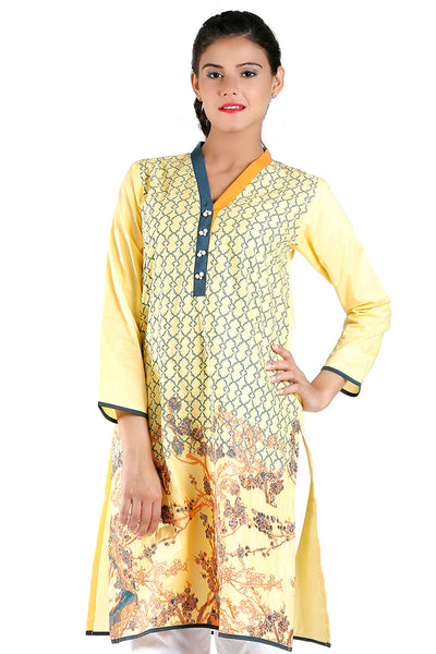 Yellow Cambric Printed Kurti - GLS-15-159