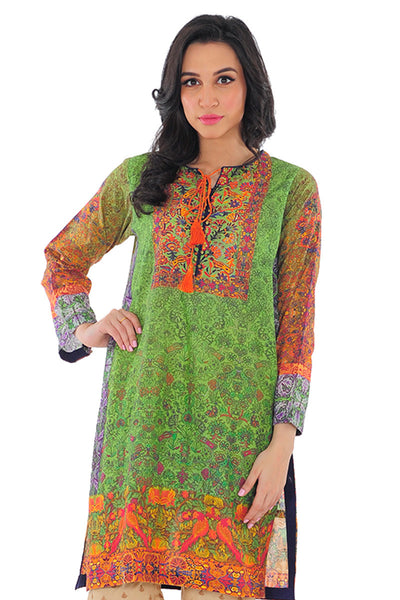 Green Digital Print Kurti - GLS-15-168