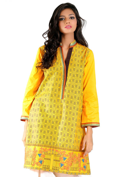 Yellow Cambric Embroidered Kurti - GLS-15-173