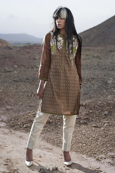 Brown Cambric Embroidered Shirt - GLS-15-179