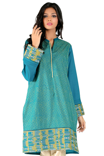 Sea Green Cambric Embroidered & Block Print Kurti - GLS-15-195