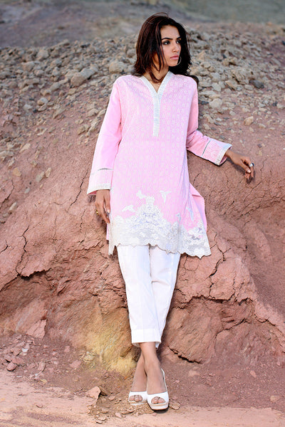 Light Pink Cambric Embroidered Shirt - GLS-15-225