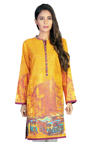 Orange Cambric Digital Print Shirt GLS-15-029