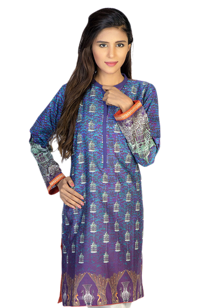 Purple Digital Print Cambric Shirt GLS-15-032