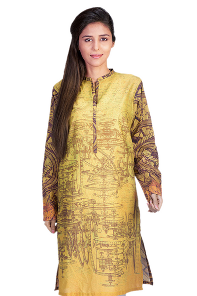 Yellow Cambric Digital Print Shirt GLS-15-039