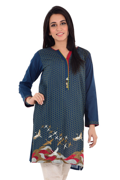 Navy Blue Cambric Embroidered Shirt GLS-16-011
