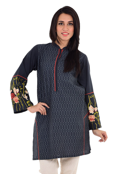 Gray Cambric Embroidered Shirt GLS-16-058