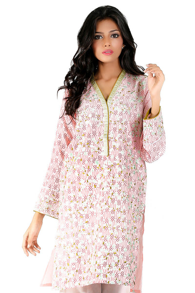 Light Pink Embroidered Kurti - GLS-16-06