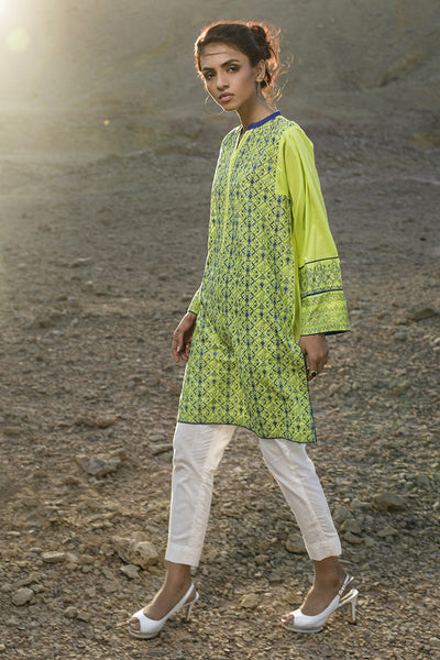 Parrot Green Cambric Embroidered Shirt - GLS-16-010