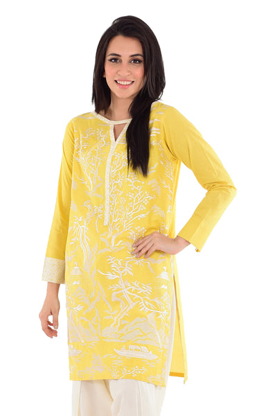 Yellow Cambric Embroidered Shirt GLS-16-054