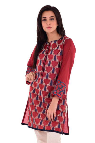 Maroon Embroidered & Screen Printed Cambric Shirt GLS-16-066