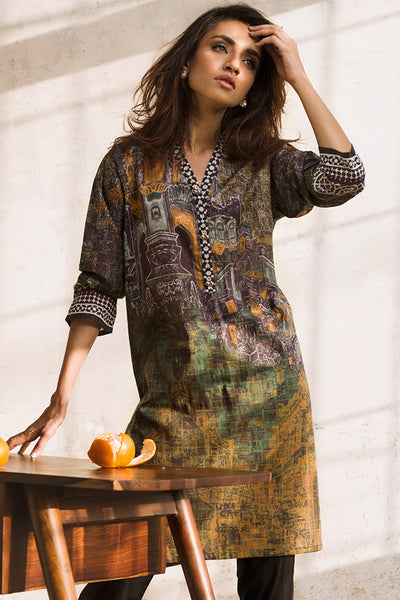 Black Printed Lawn Shirt GLS-17-073 DP