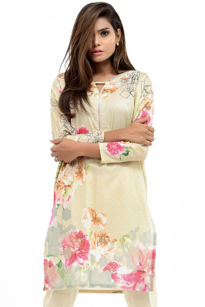 Beige Digital Printed Lawn Shirt GLS-17-088 DP
