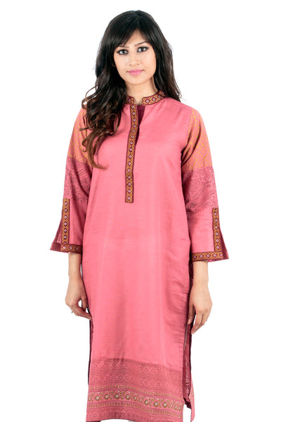 Pink Embroidered Screen Print Shirt GLW-14-044