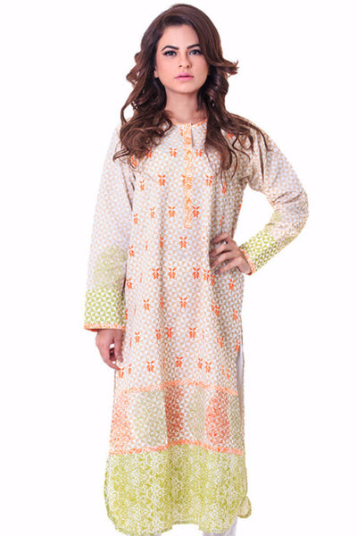 Off White Block Printed and Embroidered Khaddar Shirt GLW-14-047